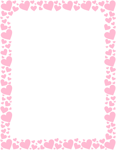 printable pink heart border free gif jpg pdf and png