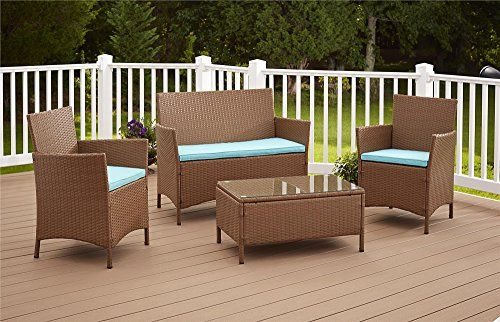 cosco dorel industries outdoor jamaica 4 piece resin wicker complete rh pinterest co uk Resin and Wood Furniture Sets resin patio furniture sets for sale