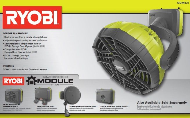 Ryobi Garage Door Opener Module System - Fan  sc 1 st  Pinterest & Ryobi Garage Fan Accessory | Fans