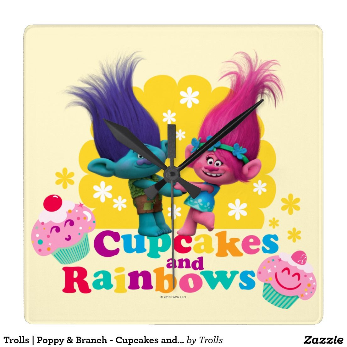 Trolls | Poppy & Branch - Cupcakes and Rainbows Square Wall Clock ...