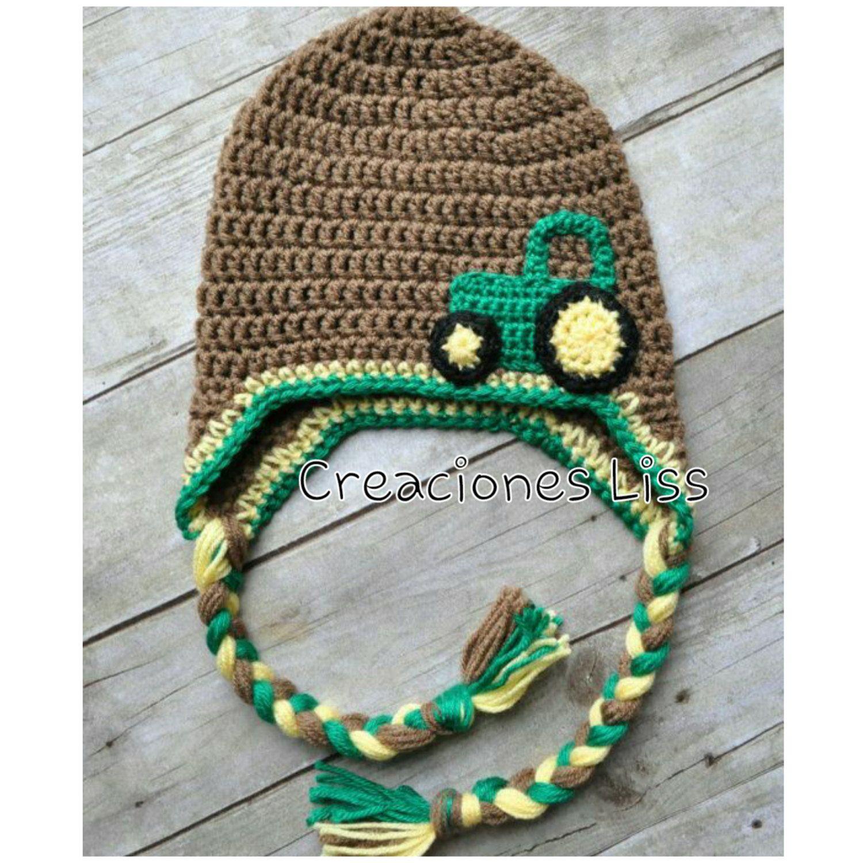 Crochet baby hat tractor, gorro en crochet de StylesbyLiss en Etsy ...