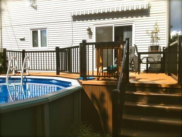 patio plus deck de piscine decks backyard pinterest patios decking and ground pools. Black Bedroom Furniture Sets. Home Design Ideas