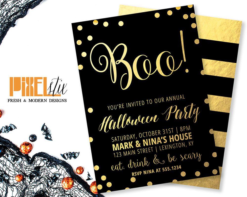 Gold Foil Halloween Invitations, Confetti Halloween Party ...