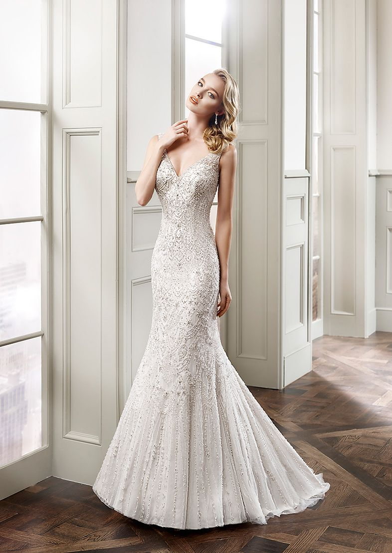 Eddy K Style Ct159 Strapless Sweetheart Neckline Mermaid Silhouette Tulle And Crystal Beading Embroidery Wedding Dress Ivory Café Silver