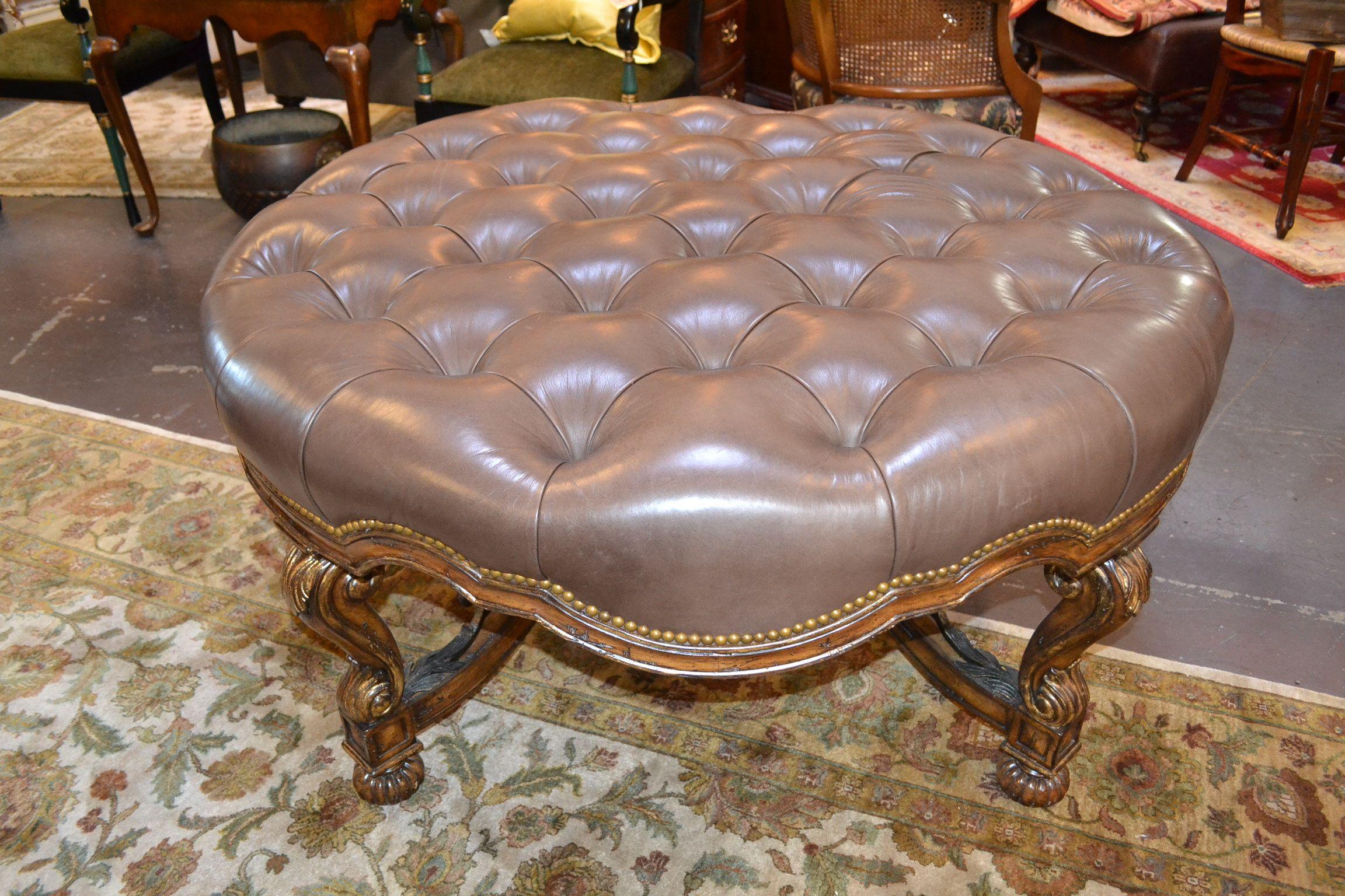 Marge Carson Segovia Tufted Nailhead Leather Ottoman Leather