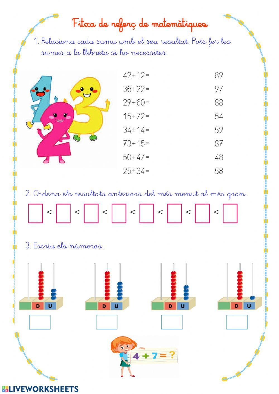 Càlcul Ficha Interactiva Fichas Matematicas Tercer Grado Fichas De Matematicas