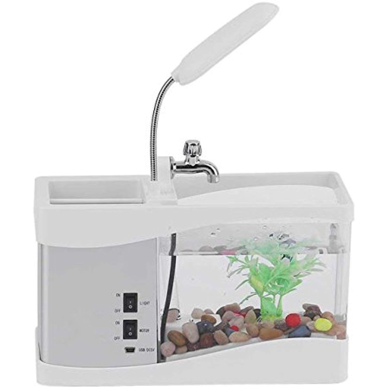 White Led Electronic Aquarium Mini Fish Tank Lamp Desktop Usb Rechargeable Aquarium Led Clock Multi Functional Read Aquarium Led Usb Rechargeable Led Clock