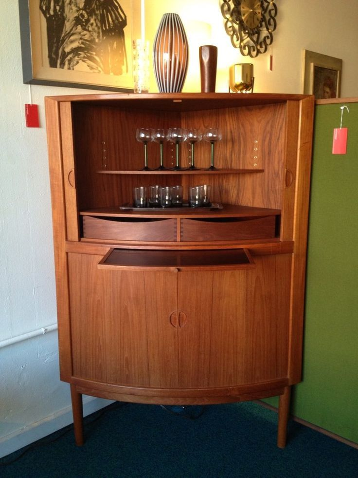 Mid Century Danish Corner Bar Cabinet With Tambour Doors. Beautiful Example  Of Danish Mid Century Modern Furniture At Its Finest