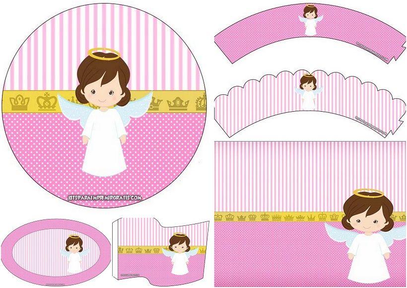 806db8fca3154 Adorable Kit de Angelita  Mini Kit para Bautizo para Imprimir Gratis.  Puedes hacer tarjetas