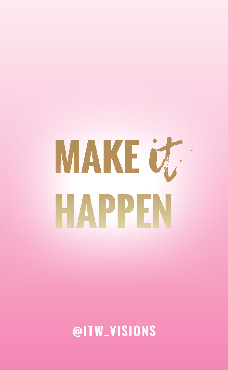 motivational quote, pink and gold girly image and