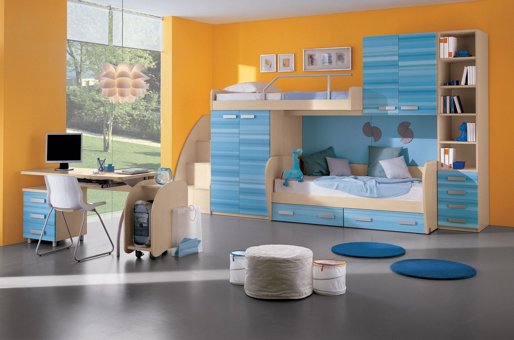 Beauteous Design Kids Room Decorating Ideas Boys Bedroom With White Wood Bunk Bed Along Storage Blue Cabinet An Kids Room Design Kids Room Paint Bedroom Design