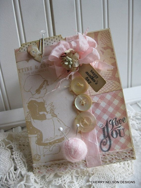 shabby chic mothers day card- LITTLE GIRL KNITTING- ball of yarn handmade card