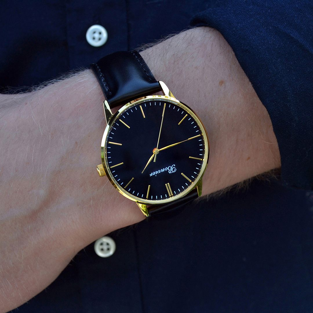 Classic Black/G on the wrist. Free shipping worldwide - www.bonvier.com #bonvier #watches #orologi