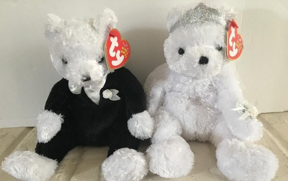 3772afd1d1c Ty Beanie Baby Babies Bride and Groom Set Black White Wedding Mr. and Mrs.  Love