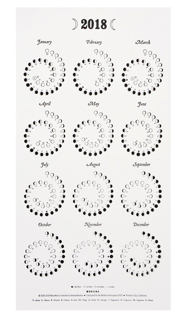 Moon Phases For 2018 Print Calendar Moon Phase Calendar Moon