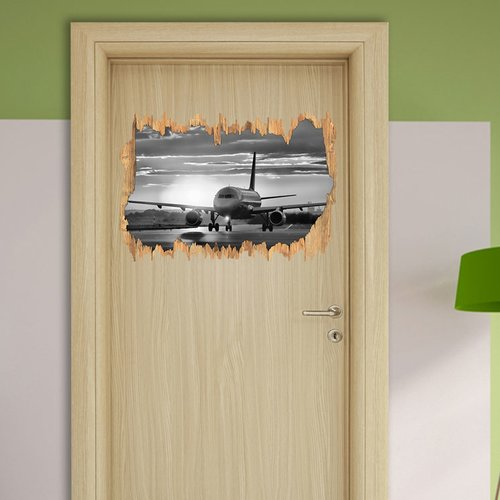 East Urban Home Plane Landing At Sunset Wall Sticker Mirror Wall