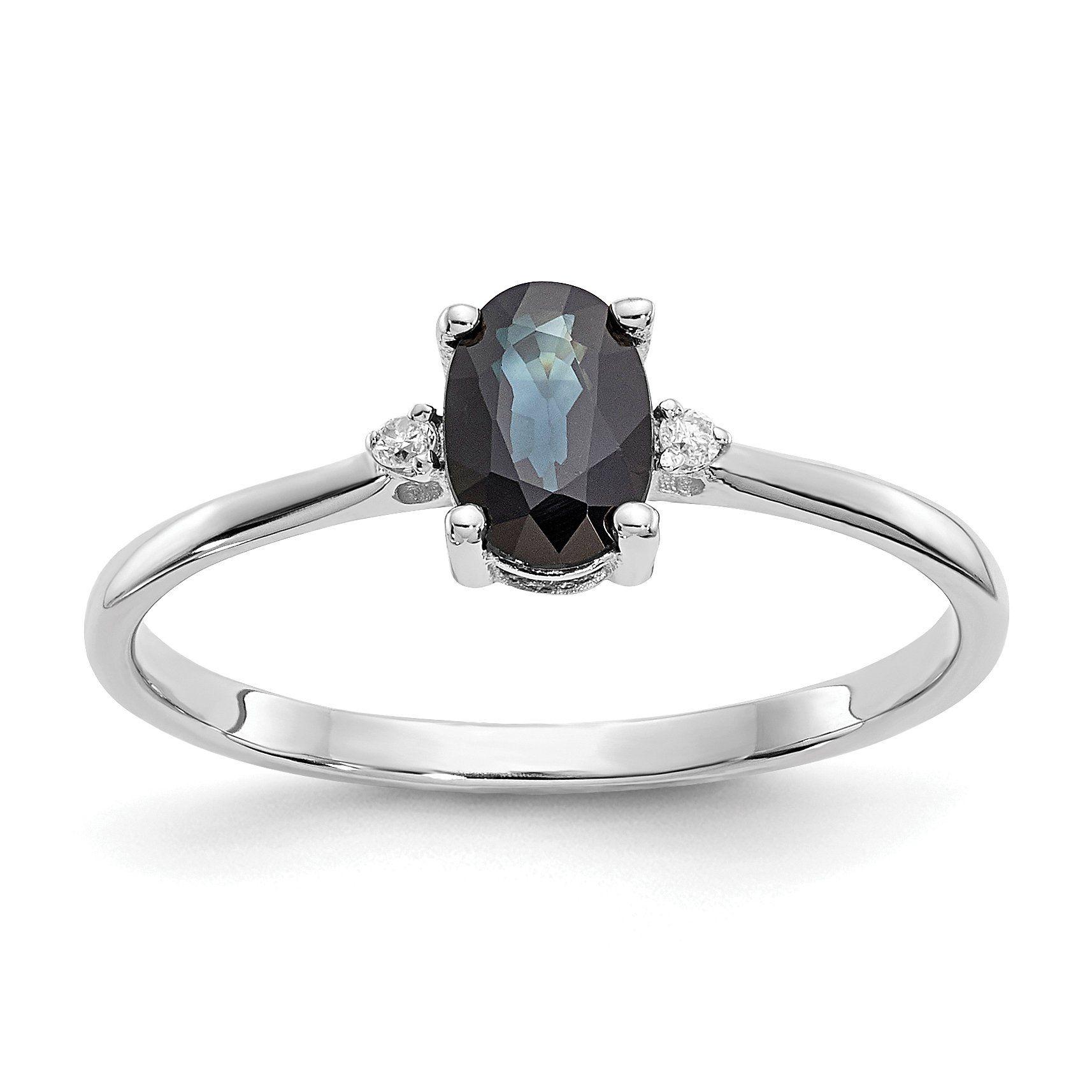 14k Or 10k White Gold Diamond & Blue Sapphire September