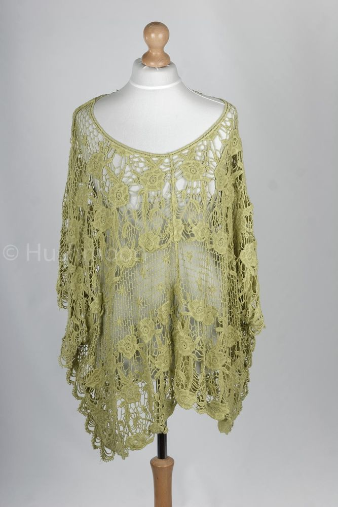 Ladies Lagenlook Italian Crochet Cotton Lace Ponco Layer Made in Italy Boho OSFA