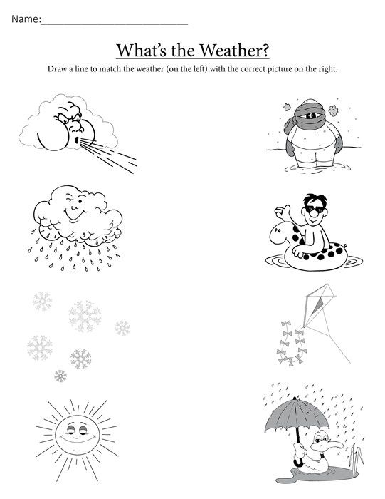 Whats the Weather FREE Printable Matching Worksheet – Preschool Science Worksheets
