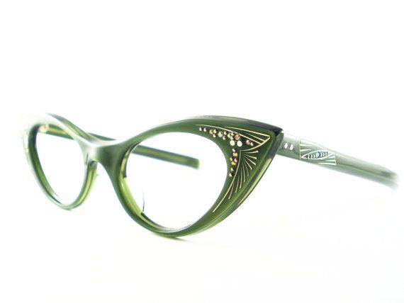827287322323 Cat Eye Glasses Green Vintage Eyeglasses by VintageEyeglassesCat