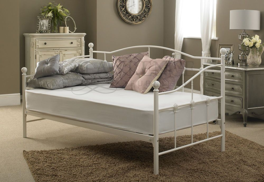 Venice Single Metal Day Bed 3ft In White Quilted
