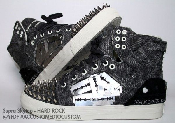 "Supra Skytop ""Hard Rock"" Custom I really like these!!! ....would they be  considered a weapon  ..razor blades. 63b28102fb"