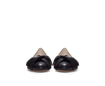 ZARA - WOMAN - LEATHER BALLERINA WITH BOW