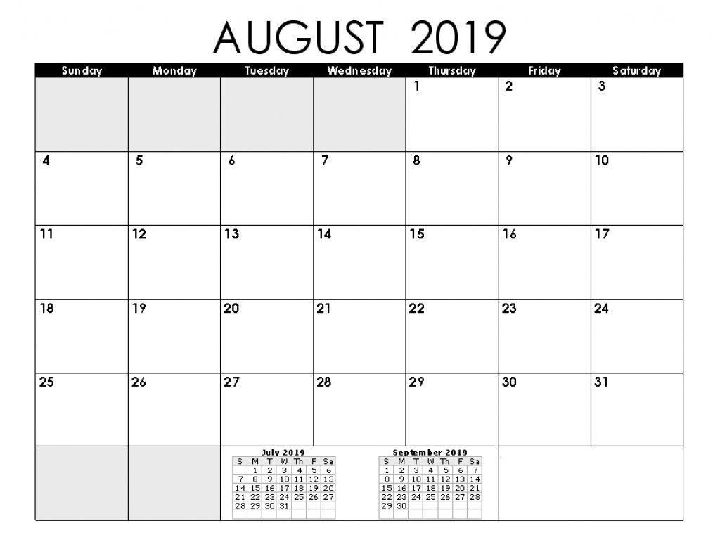 Printable Calendar August 2019 September 2019 2018 Calendar