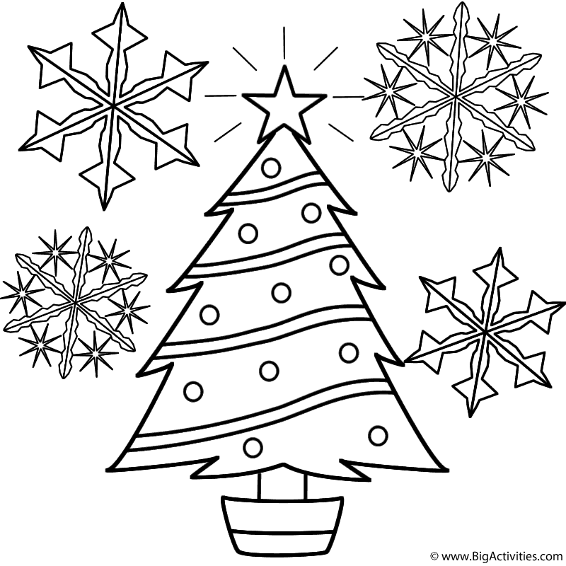 Christmas Tree With Snowflakes Coloring Page Christmas In 2020 Printable Christmas Coloring Pages Christmas Tree Coloring Page Free Christmas Coloring Pages