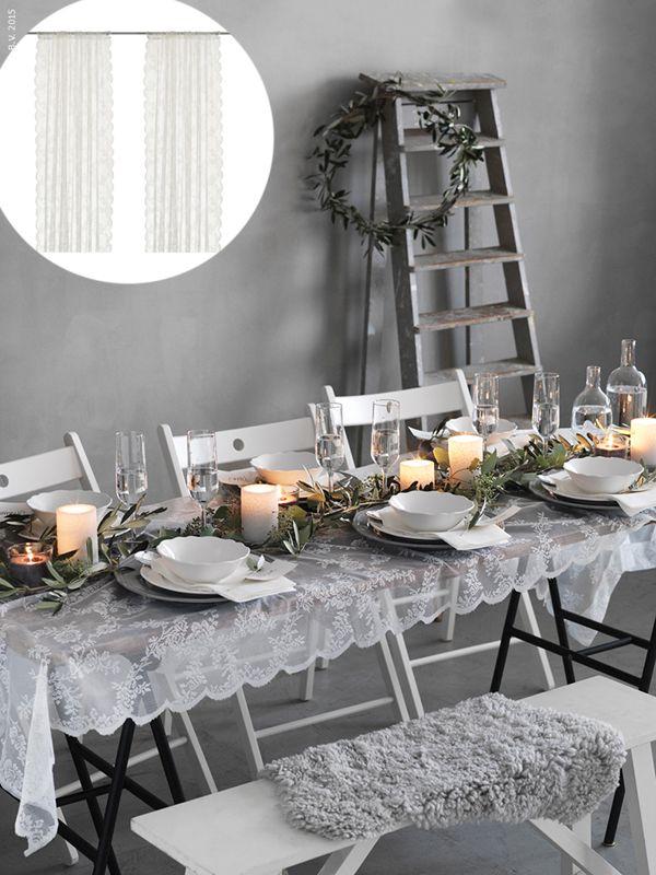 Ikea Hack Hochzeit Alvine Spets Vorhang Zu Tischdecke Ikea Tisch Dekor Tisch Dekorieren