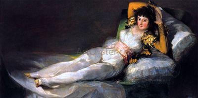 The Clothed Maja by Francisco De Goya http://www.artoyster.com/francisco-jose-de-goya-y_lucientes-paintings_the-clothed-maja_pe29089.html  Painting of a Woman