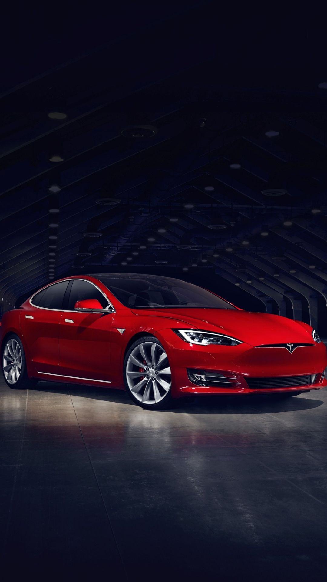 2016 Red Tesla Model S No Grill iPhone 8 Wallpapers
