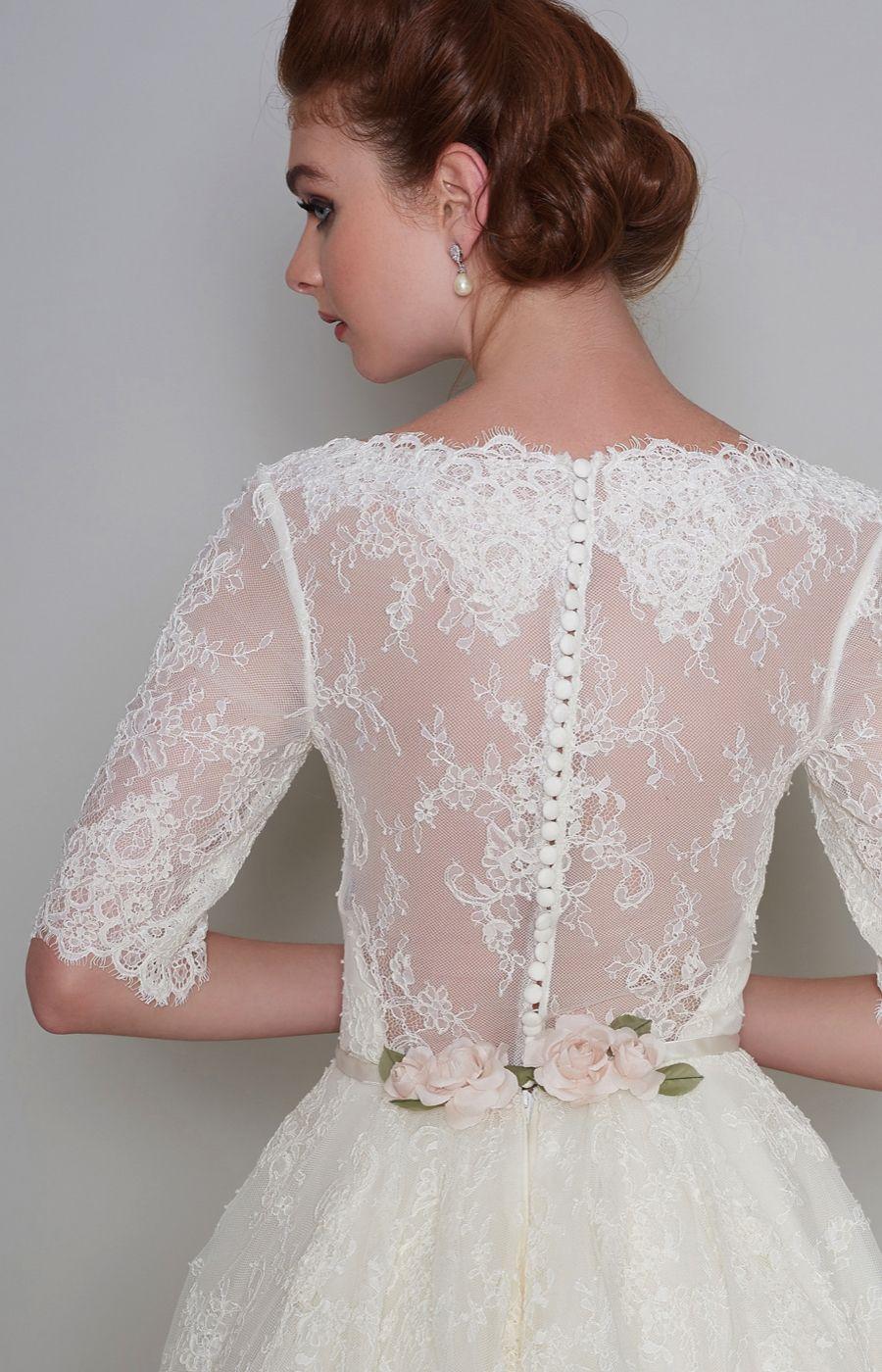 Tea Length Wedding Dress With Transparent Back Trimmed Silk