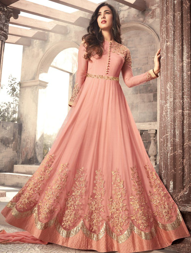 46e9909dbd Salmon Peach Designer Embroidered Net Party Wear Anarkali Suit in ...