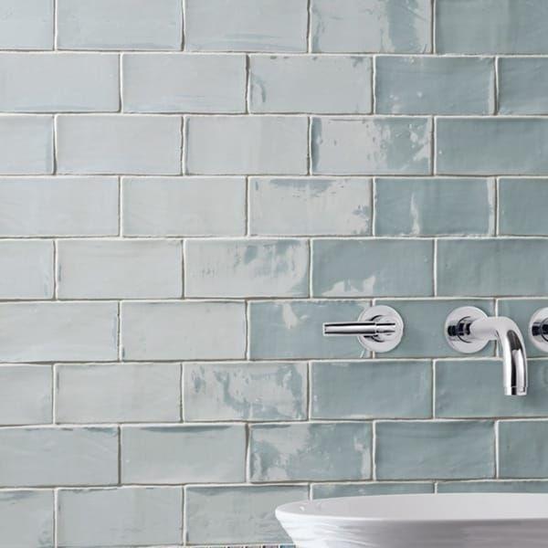 SomerTile 3x6 Inch Gloucester Acqua Ceramic Wall Tile (Case Of 16)    Bathrooms   Pinterest