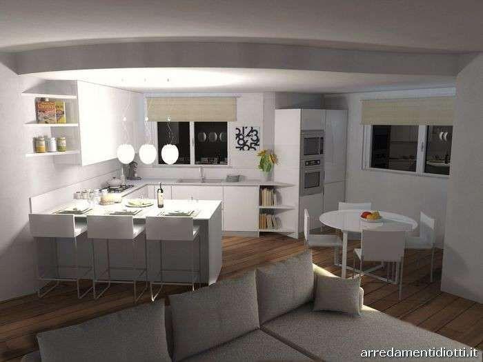 con soggiorno - Cucina con soggiorno bianco