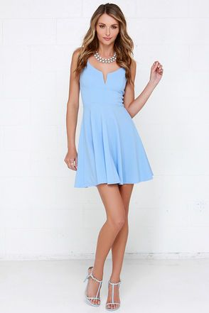 Cute Light Blue Dress - Fit and Flare Dress - Skater Dress -  36.00 a4e540ad7