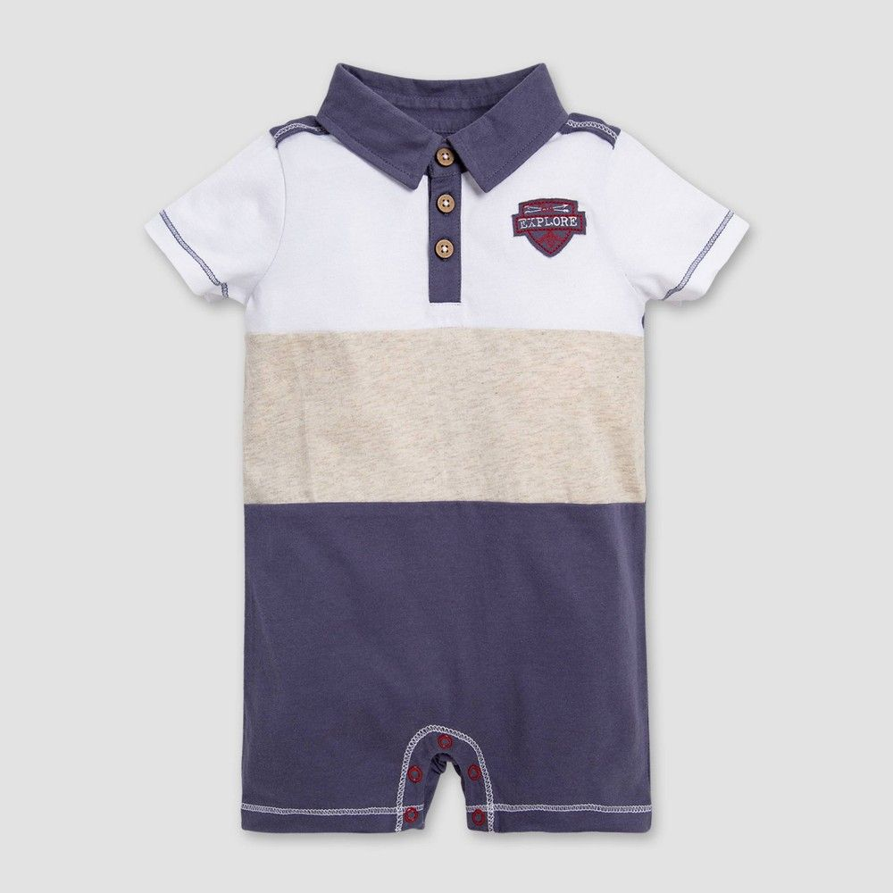 Busy Bees Baby Short Sleeve Polo with Collar Sky Blue