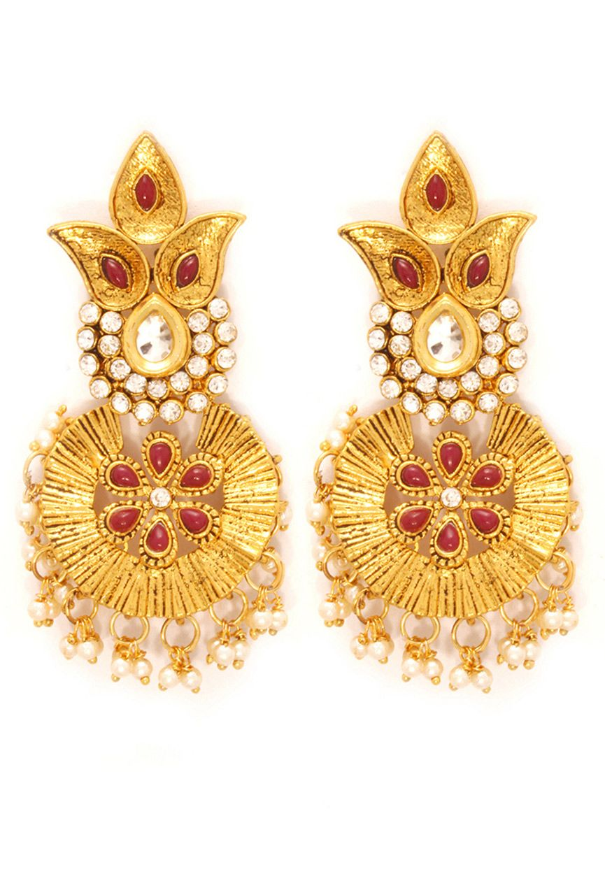 Red White And Golden Color Austrian Diamond Studded Earring Online Ping Jvm777