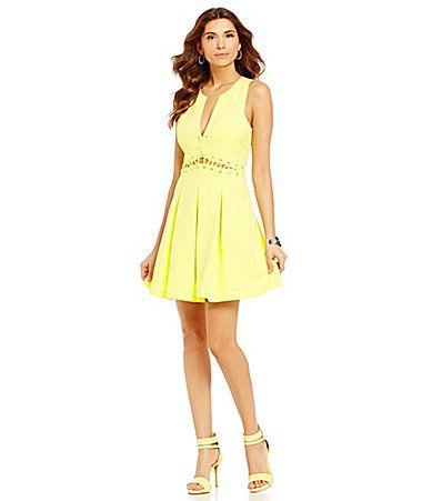 58027103ed8 Shop Women s Gianni Bini Yellow size L Mini at a discounted price at  Poshmark. Description  Gianni Bini Brenda Lace Up dress. Beautiful dress  for homecoming ...
