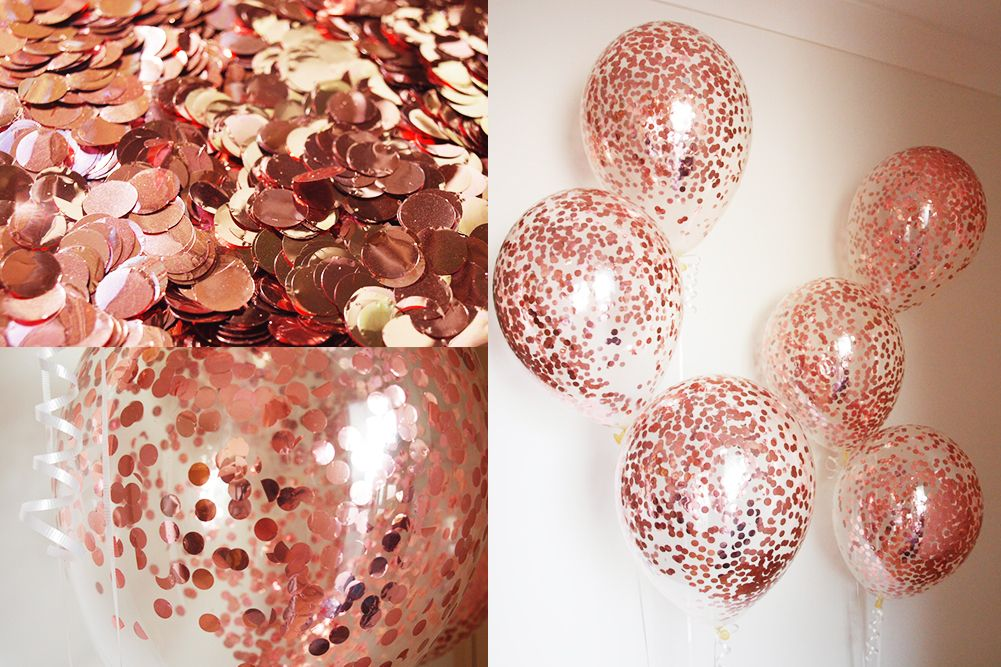 Rose Gold Confetti Balloons | Balloon Creations by Gold ...