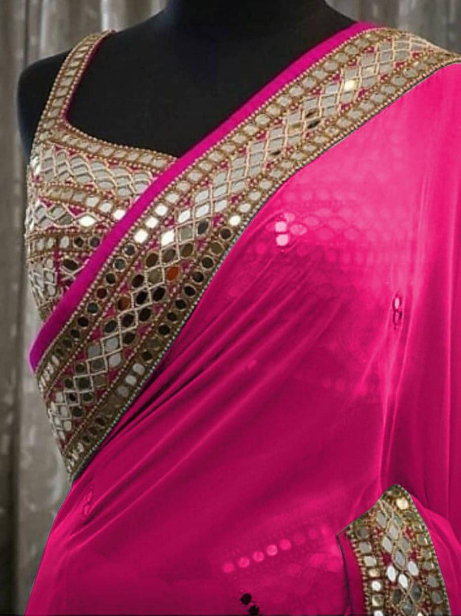 festival and wedding soft silk saree. Organza Silk saree with Mirror Sequins work and Customized Blouse party wear Ethnic Occasional