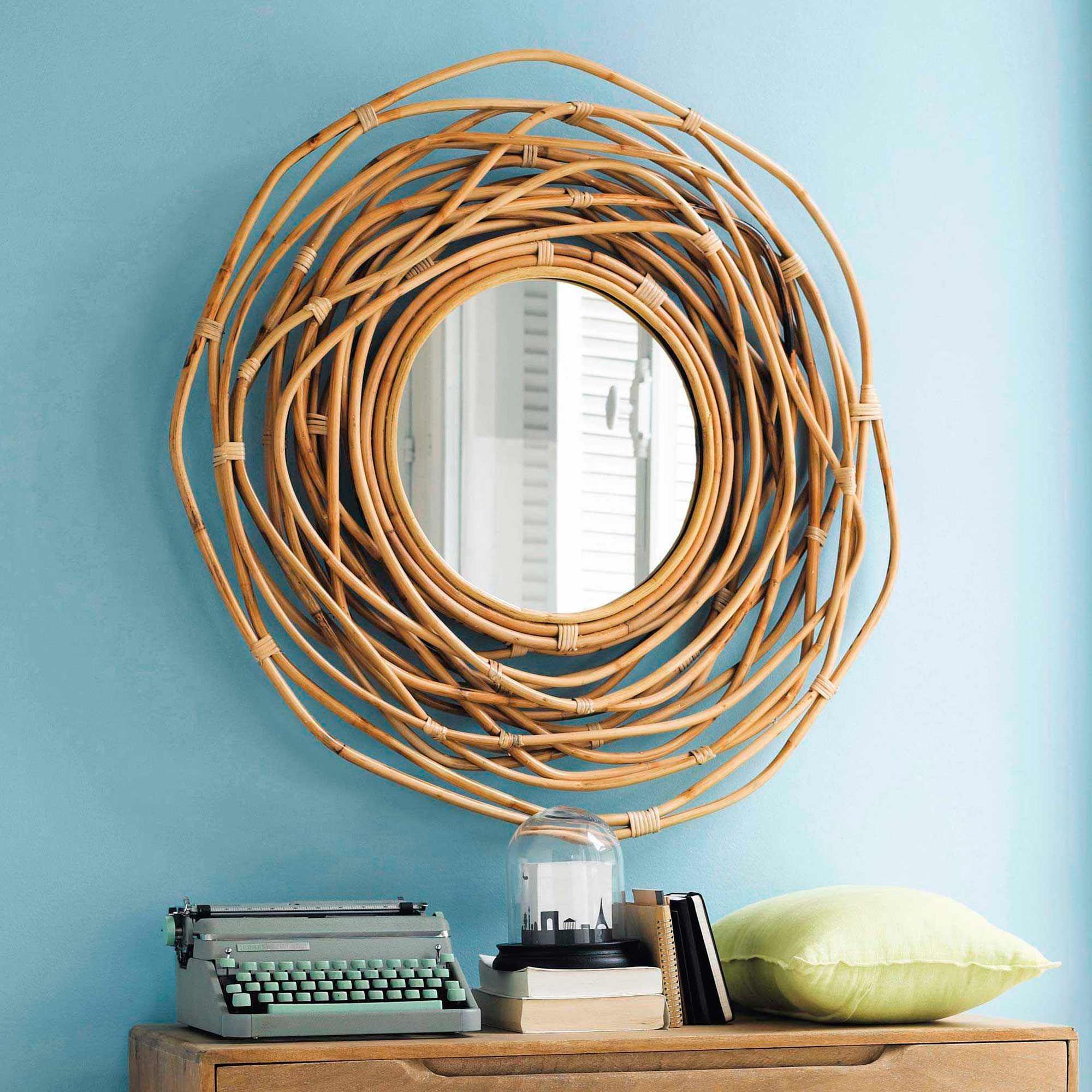 Spiegel Rund Aus Rattan D 90 Cm Sumba Wohnen Mirror Bamboo