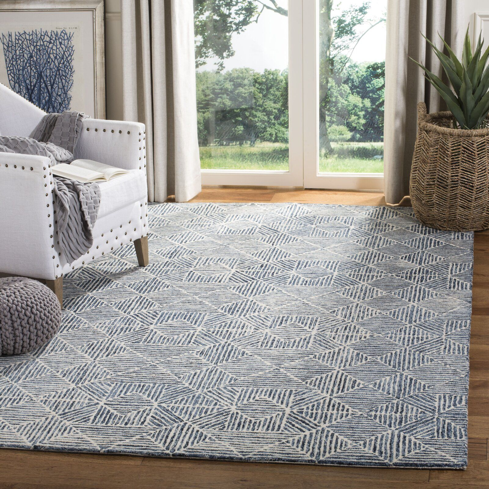George Oliver Gaither Hand Tufted Wool Light Blue Gray Area Rug Wayfair Blue Gray Area Rug Living Room Area Rugs Area Room Rugs