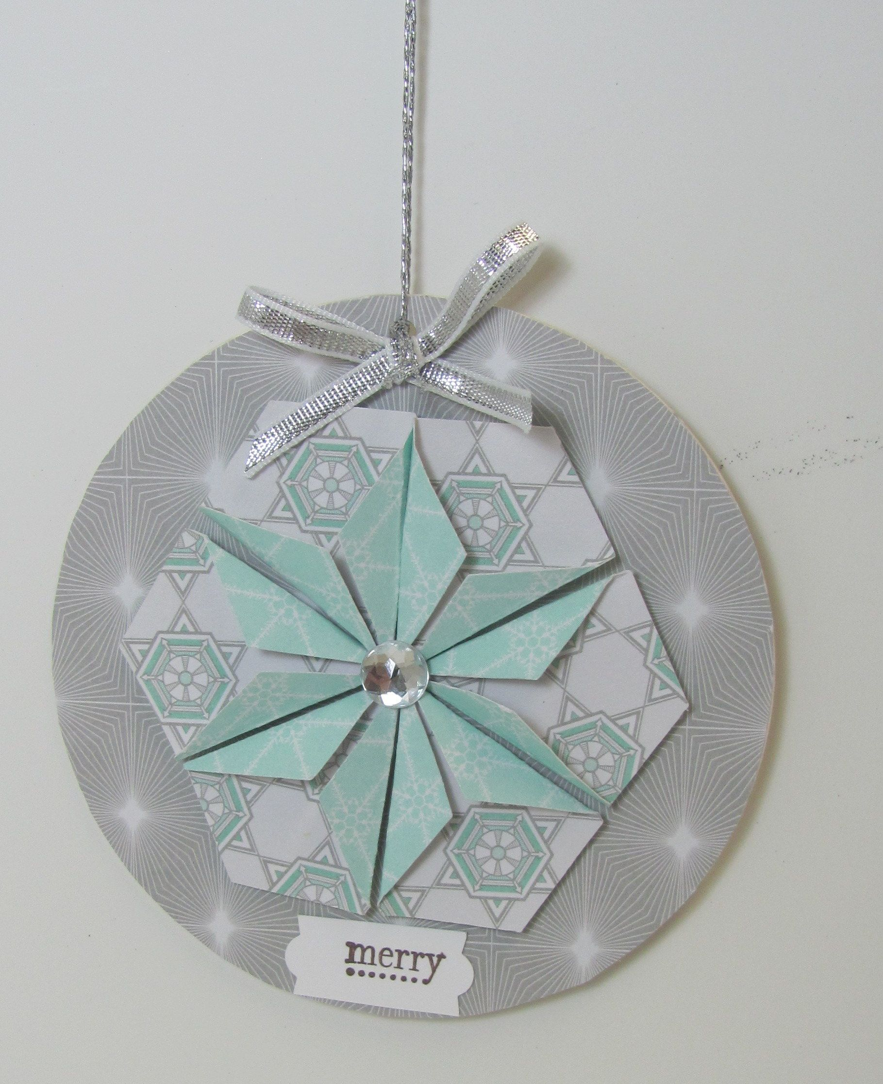 Christmas ornament using chipboard coaster and 6 punched paper pieces - Hexagon punch