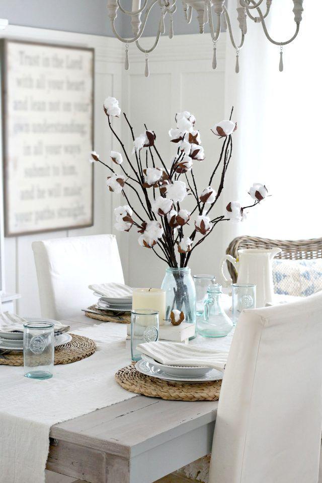 faux cotton branches | FARMHOUSE DECORATING IDEAS | Branch ...