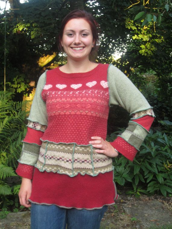 Upcycled jumper dress, tunic, with orange fairisle top and deep ...