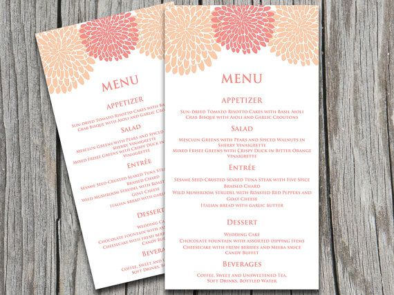 Chrysanthemum Wedding Menu Card Microsoft Word Template Peach - Menu Word Template