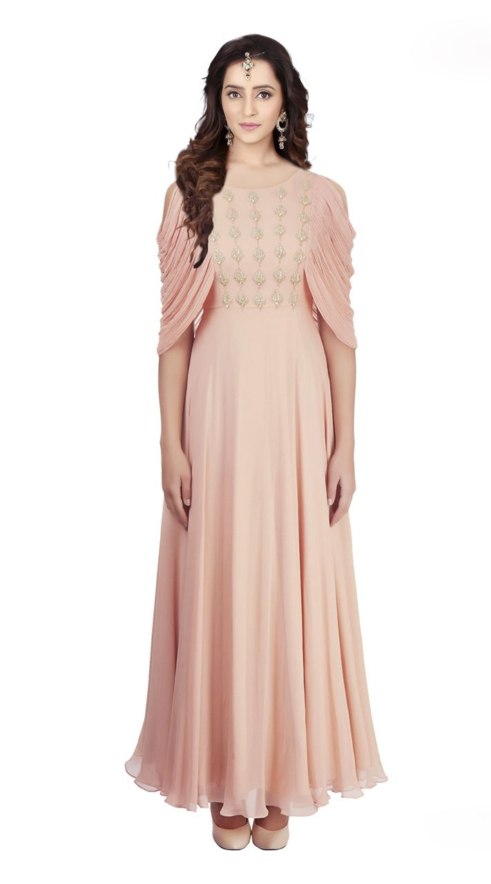 Beautiful peach and georgette indowestern gown indian wedding