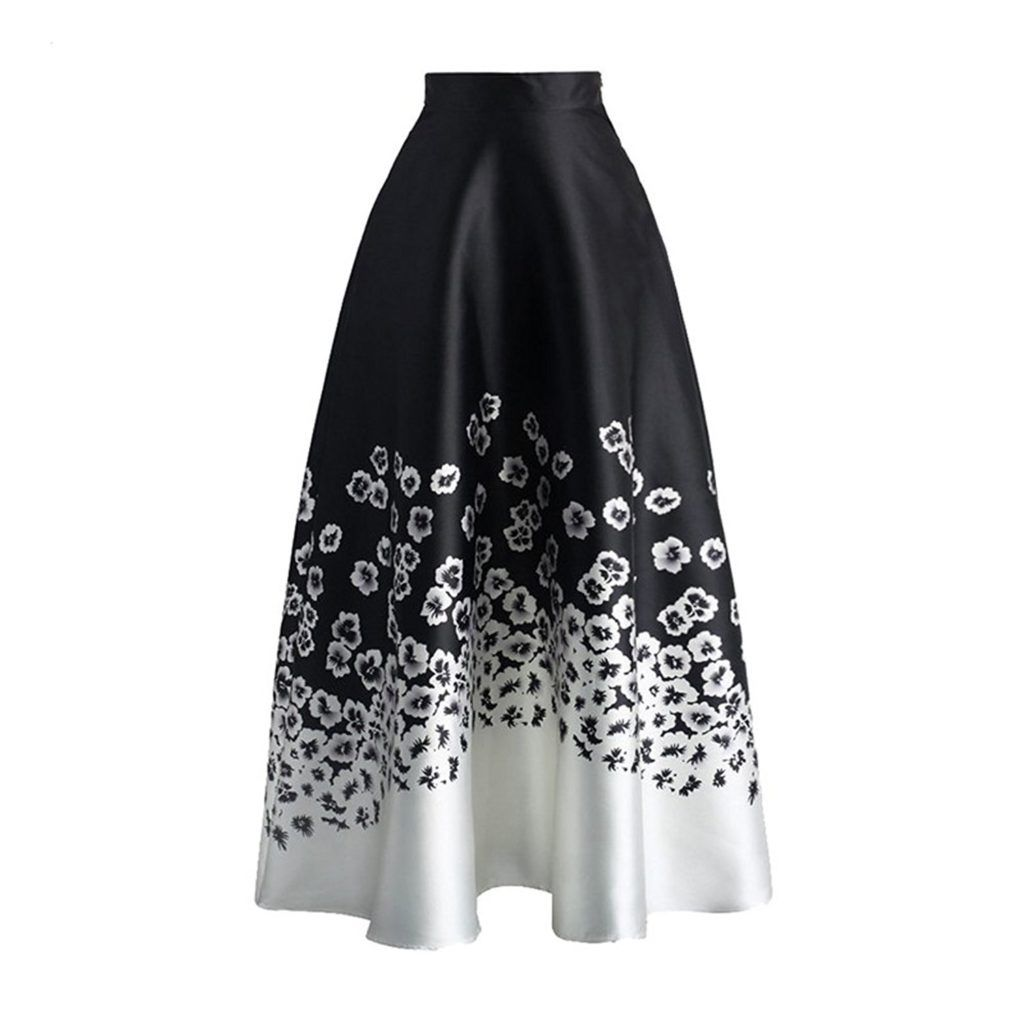 7a665e3c7f Kalin Women Monochrome Floral Print High Waist Wiggle Midi Maxi Skirt